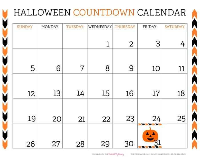 22 best Halloween Pictures, Printables, Calendars, chalk board - countdown calendar template