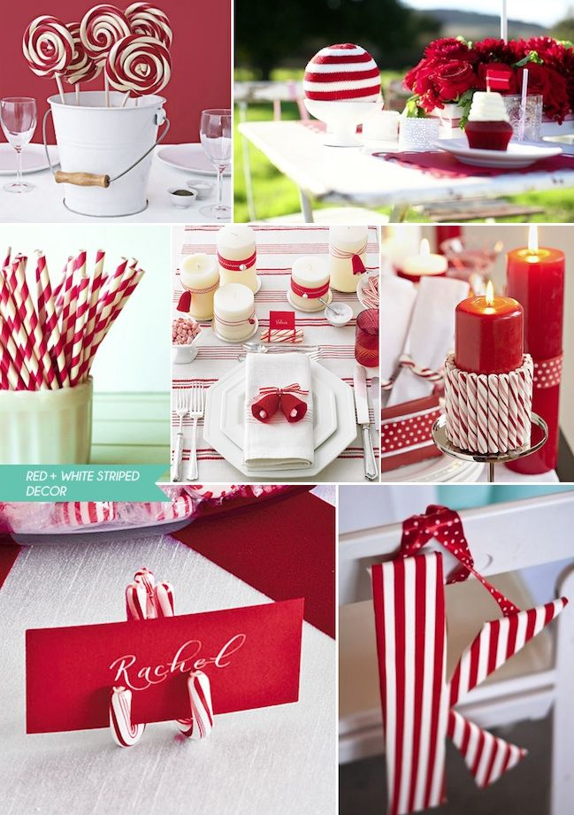 Red and White Striped Wedding - Decor