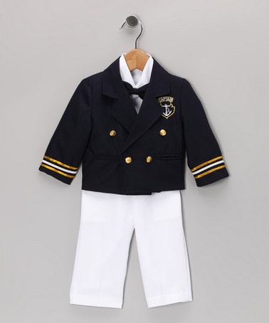 Take a look at this Navy & White Sailor Suit Set - Infant, Toddler & Boys by Shanil on #zulily today!