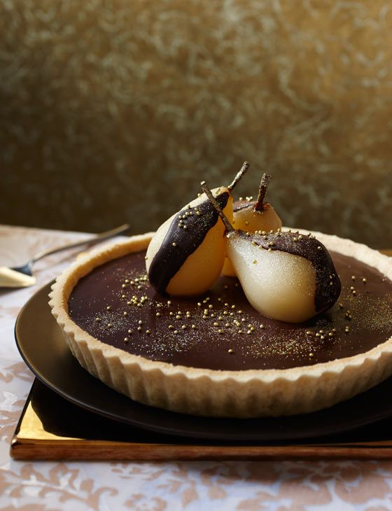 Chocolate tart with Muscat pears - a great bank holiday treat