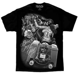 b8bc7894 Men's premium black biker t-shirt with beautiful Rid or Die, born to be wild  graphics by David Gonzales Art. Black and white large graphic with biker  and ...