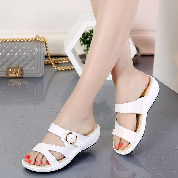 Student Fond plat Cuir orteil Chaussures Sandales avec perle femelle simple Confort Beach pour femme Chaussures, blanc