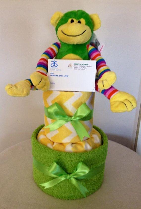 Neutral Monkey Nappy Cake by HolliesNappyCakes on Etsy