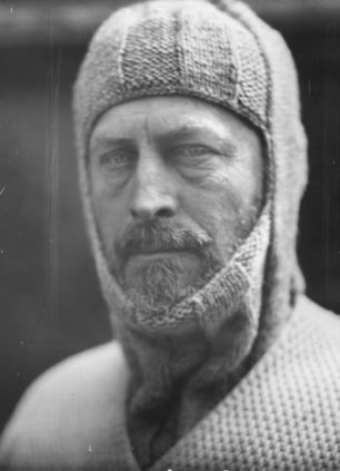 The now iconic portrait of Douglas Mawson in his wool balaclava.  Yorkshire-born explorer Douglas Mawson who led an expedition to the South Pole in 1912