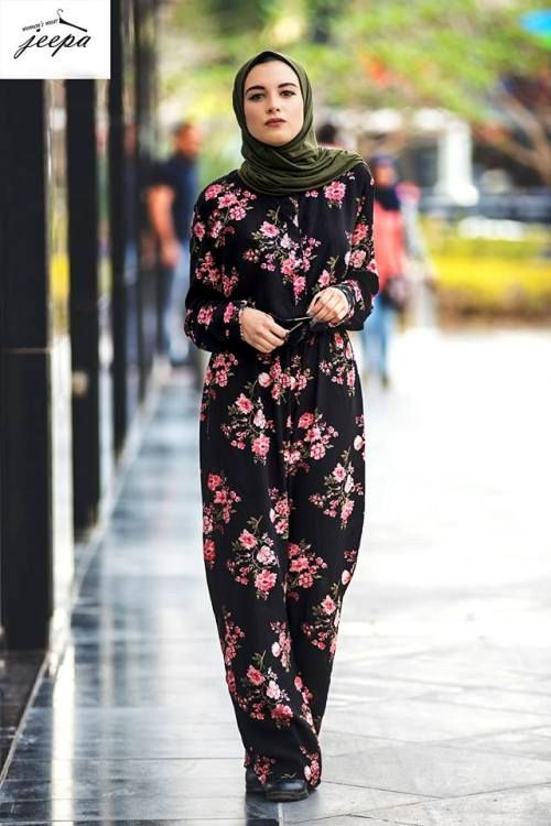 Floral jumpsuit hijab style-Casual outfits by hijabi fashion bloggers – Just Trendy Girls