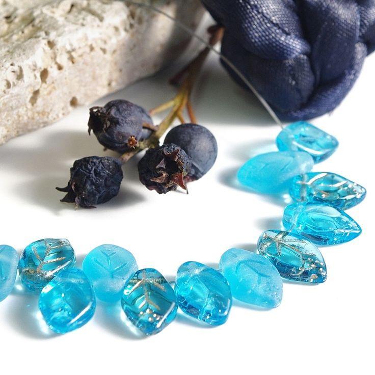 Jewery supplies -Leaves Glass Czech Beads - Turquoise Blue 7х12 mm -White Giraffe