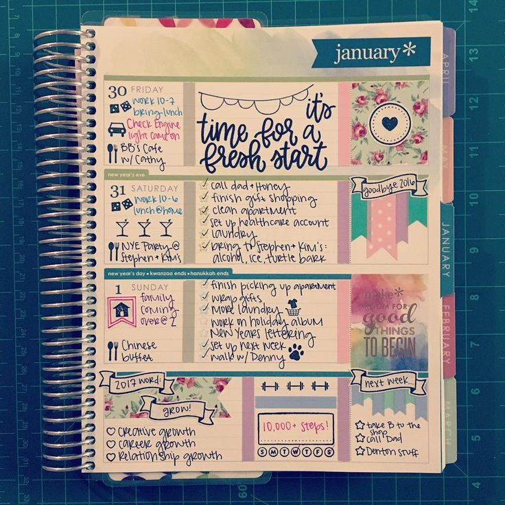 First page in my 2017 Erin Condren Life Planner (horizontal). One EC sticker and a bunch of Recollections brand washi and stamps.