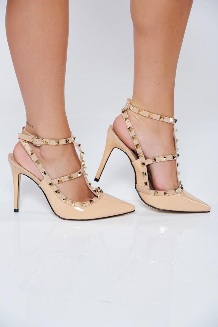 Stiletto elegant cream shoes from ecological varnished leather with thin straps, women`s shoes, stiletto, ecological varnished leather, metallic spikes, thin straps, lacquer fabric