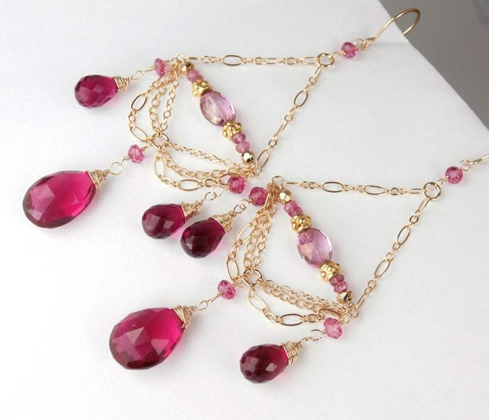 ON SALE 20% off - Valentine Jewelry Raspberry Pink Chandelier Earrings 14kt Gold Fill Wire Wrapped Chain Luxury Fashion - Jan. $116.00, via Etsy.