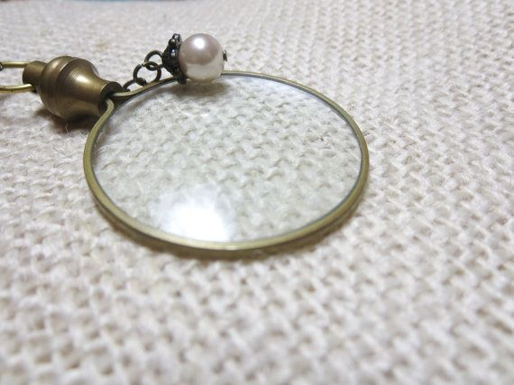 Magnifying necklace perl  Monocle Magnifying by BeautyJewelryGifts