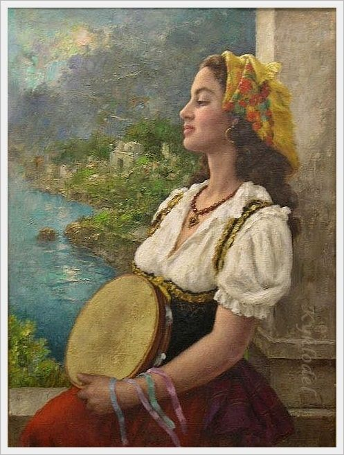 Image detail for -gene pressler american b 1893 gypsy girl with a tambourine