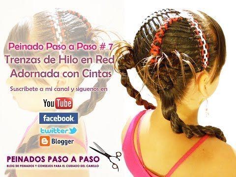 Peinado Paso a Paso # 7 - Trenzas de Hilo en red adornada con cintas - YouTube