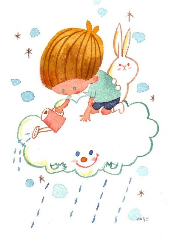 雲の上から雨を降らせる男の子のイラストです。額入りイラスト、原画です。シリウス紙に、水彩で着色。壁にかけたりスタンドが付いていますので、立てかけても使っていた...|ハンドメイド、手作り、手仕事品の通販・販売・購入ならCreema。