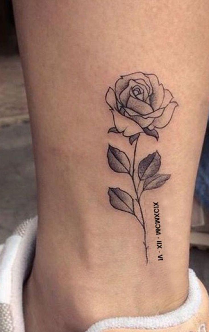 Zarte kleine Rose Tattoo Ideen für Knöchel – Vintage Realistische Leg Tat – www.MyB