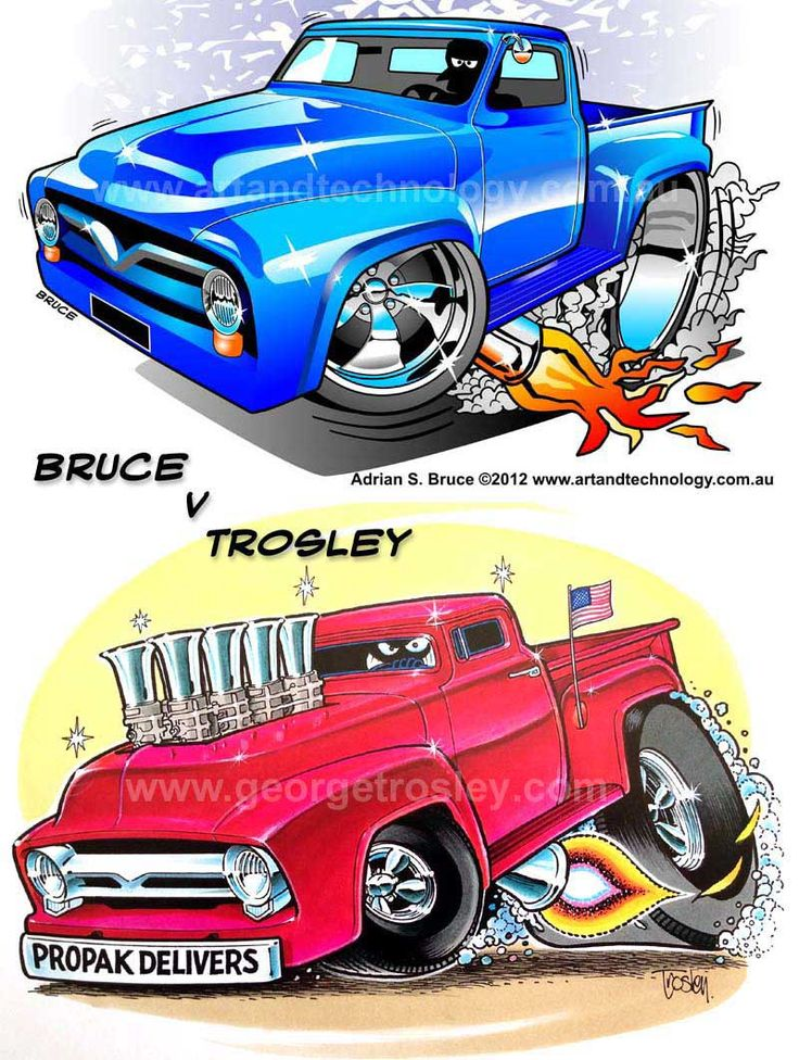 trosley art | Adrian Bruce vs George Trosley - Dueling 1955 Ford Pickup Car Cartoons