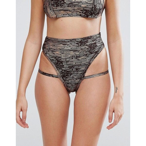 PrettyLittleThing Metallic Bandage Bikini Bottoms ($22) ❤ liked on Polyvore featuring swimwear, bikinis, bikini bottoms, gold, swim bikini, strappy bikini, swim wear, high-waisted swimwear and high rise bikini bottoms