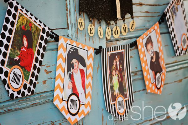 love this free printable banner that you can add the kid's costume pictures through the years to!