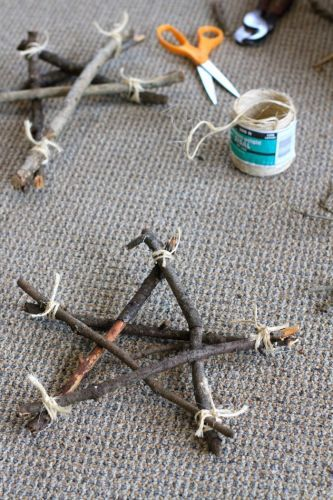 Fallen sticks into stars. Make a few different sizes and put on window sill or mantle.