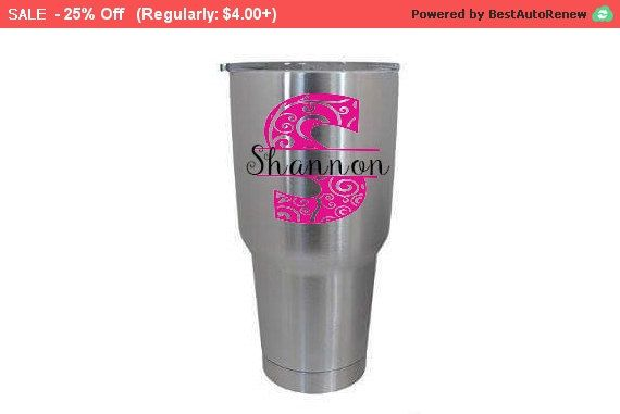 SALE - Stainless Steel Tumbler Monogram Decal, Personalized vinyl decal, Custom waterproof sticker, colorful oracal vinyl,  Samantha font...