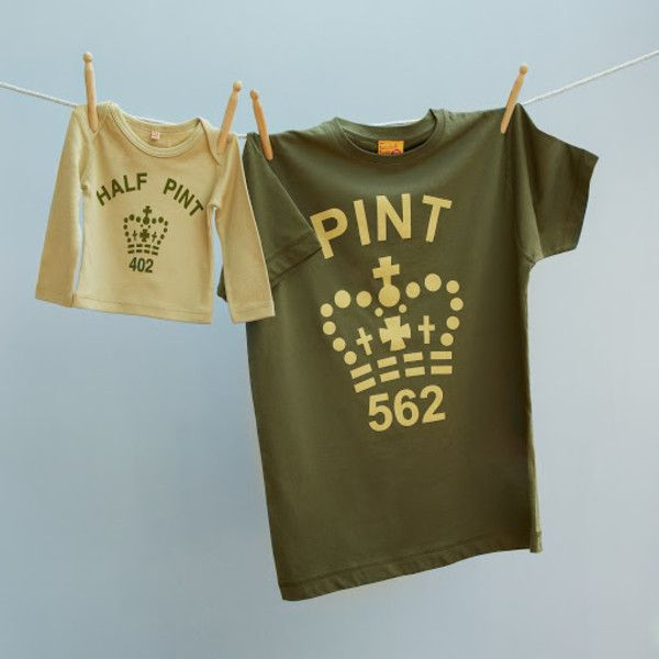 Matching pint and half pint t-shirt set for dad and child (army toffee)