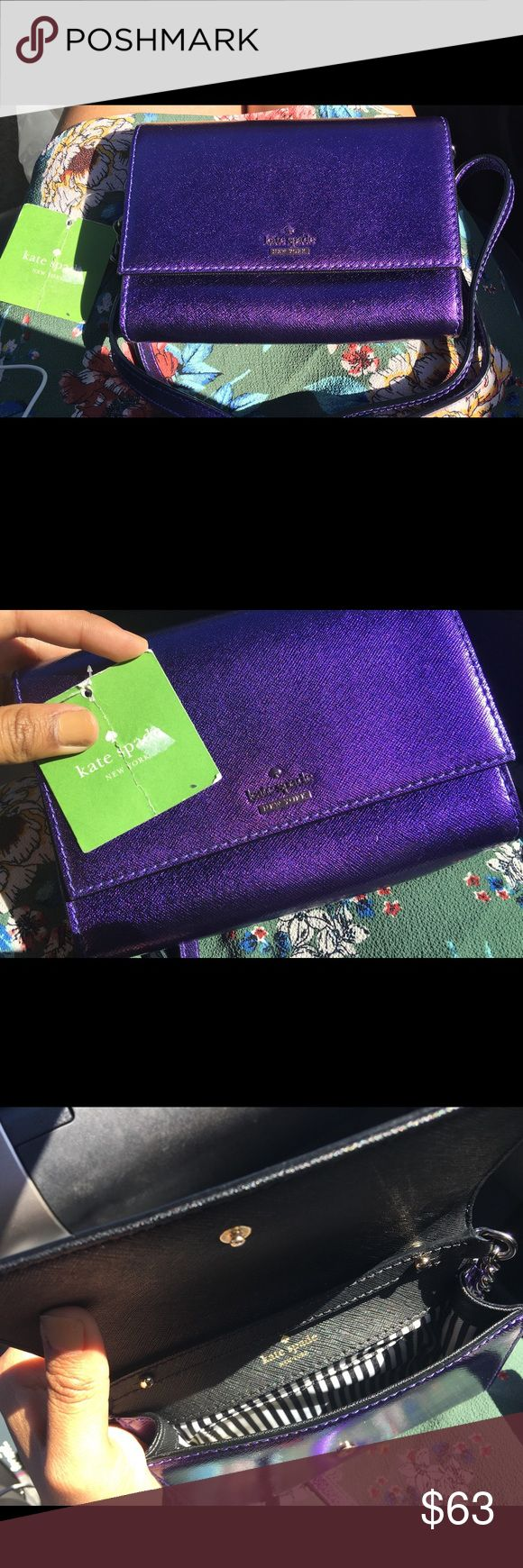 Kate Spade Metallic Crossbody Clutch New Kate Spade Cameron Street Metallic Cami Regal Plum Bag Crossbody Clutch. New with tags. kate spade Bags Crossbody Bags
