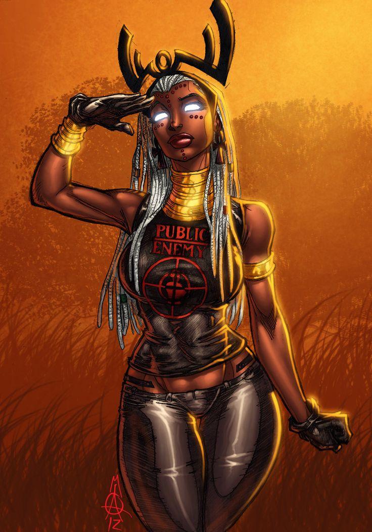 Afrocentric Storm #9: braids [Public Enemy #1] | lines by apexabyss --color by *ConfuciusRetaliation  [[via deviantART]]