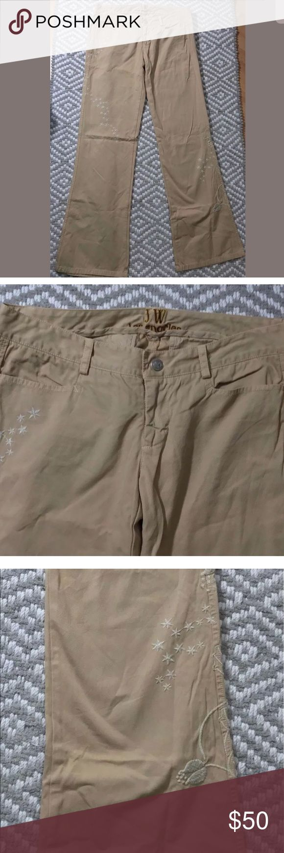 """Johnny Was 3j workshop embroidered pants jwla JW Los angeles by Johnny Was  Size small 100% cotton Tan with embroidery 32"""" inseam Leg openings are  21"""" Waist is 32 """"  Front rise is 7 """" Rear Rise is  13""""    Excellent, pre-owned condition. From clean, non-smoking environment. Johnny Was Pants"""