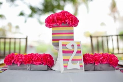 Pink, Yellow, & Gray Modern Ribbon Wedding Inspiration