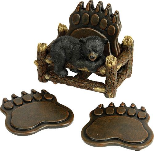 This 5 piece coaster set is the perfect way to keep your tables safe and dry while providing decoration. Features an adorable black bear cub resting on an old pine log fence. Made of polyresin and han