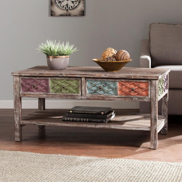 Erie Multi-Colored Storage Coffee Table, White-Washed Weathered Fir With Lime/Purple/Blue/And Peach Hues