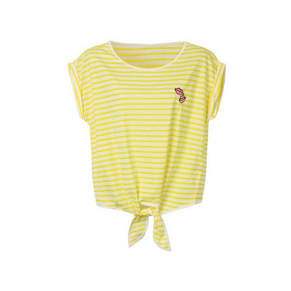 Women O-Neck Bat Sleeve Stripe Short T-Shirt ($433,514) via Polyvore featuring tops, t-shirts, tea party t shirts, striped tees, short t shirt, beige top and beige t shirt