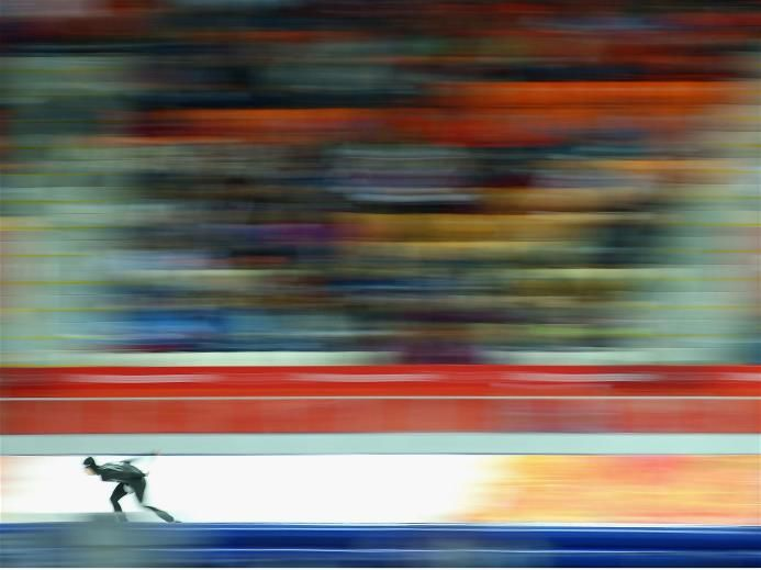 Patrick Meek of the USA competes during the Men's 5000m Speed Skating event during day 2 of the Sochi 2014 Winter Olympics at Adler Arena Skating Center
