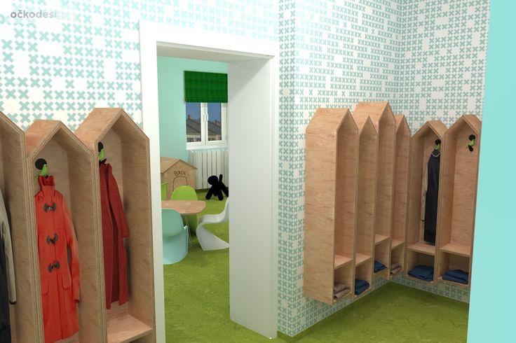 moderní mateřská školka - šatna pro děti -zajímavé designové interiéry