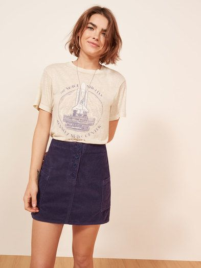 The Wally Skirt is part of the Reformation Jeans collection. This is a mini length, corduroy skirt with side pockets and center front buttons.
