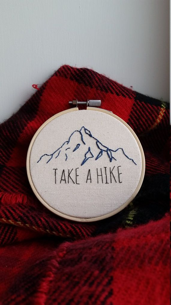 Mountain Outline with Take a Hike Quote  by StitchingBusiness