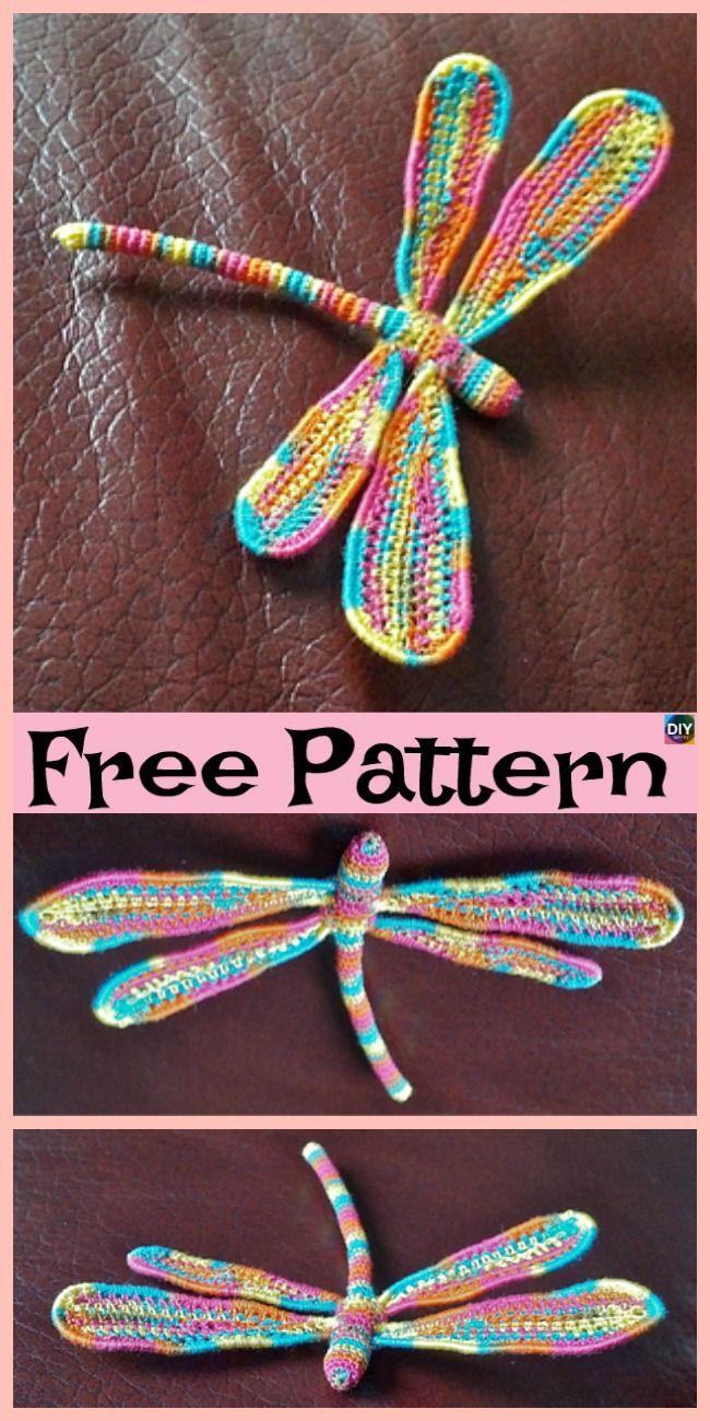 6 Beautiful Crochet Dragonfly Free Patterns Pinterest Beautiful