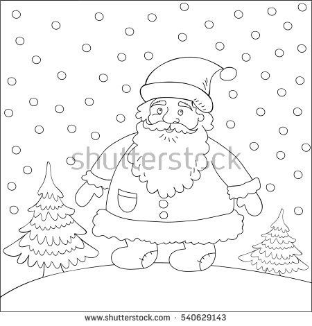 Santa Claus outdoors among the winter trees. Template for design Christmas cards, posters, packages, books, clothes and so on.