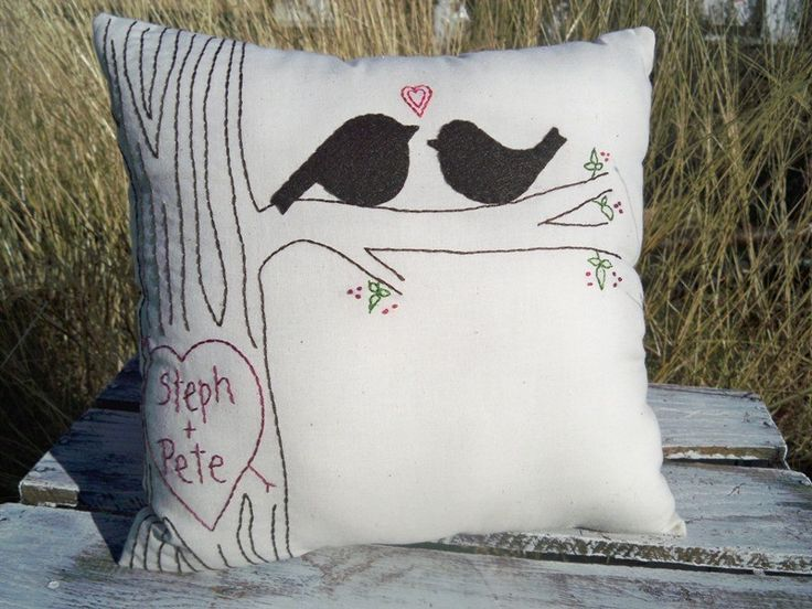 Large Personalized Love Bird Pillow with Faux Bois Stitching.