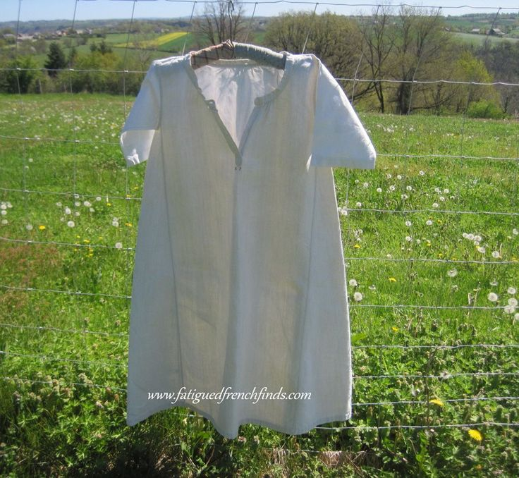 Antique French pure linen chemise or smock which dates to the late 19th century Extremely durable linen was used to make this garment The colour is