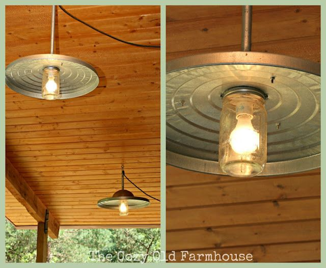 "The Cozy Old ""Farmhouse"": Cutest {Junkiest} Vintage Cabin...Ever!  A trash can lid and a mason jar .... love it.: Porches Lights, Old Farmhouse, Cans Lights, Lights Fixtures, Vintage Cabins, Back Porches, Pendants Lights, Mason Jars Lights, Outdoor Lights"