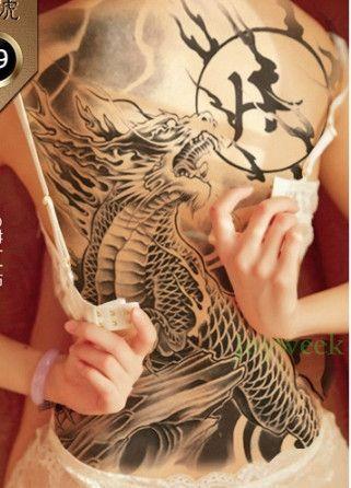 104374fa15ff8 Waterproof Temporary Tattoo Sticker Koi lotus men's whole back tattoo large  tatto stickers flash tatoo fake tattoos for women 19 #Tattoosforwomen