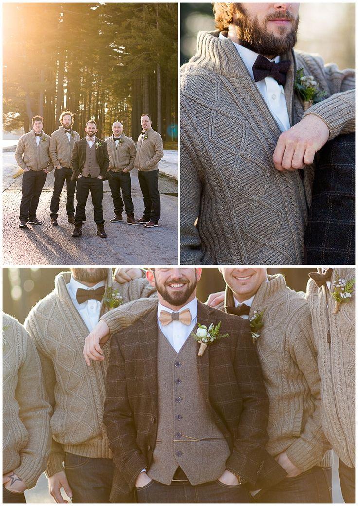 Our woodland/rustic winter wedding groomsmen outfit  Les habits rustiques de nos garçons d'honneur.  Photos by: Sophie Asselin Photographe