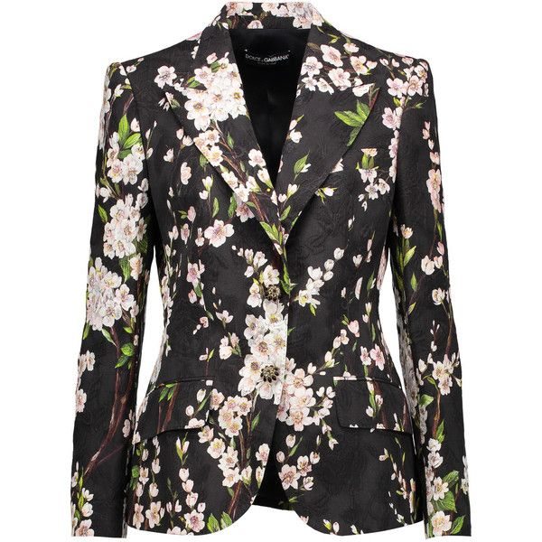 Dolce & Gabbana - Floral-print Matelassé Cotton And Silk-blend Blazer (€1.100) ❤ liked on Polyvore featuring outerwear, jackets, blazers, black, multi color blazer, floral blazer, floral print blazer, flower print jacket and floral-print blazers