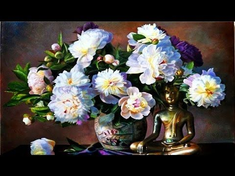 Bouquet of peonies. Paint flowers easy way. Flowers oil painting, flowers painting acrylic. Sakharov - YouTube