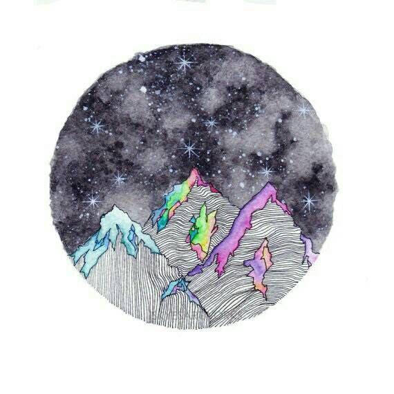 Montañas de colores abstracto acuarela lámina