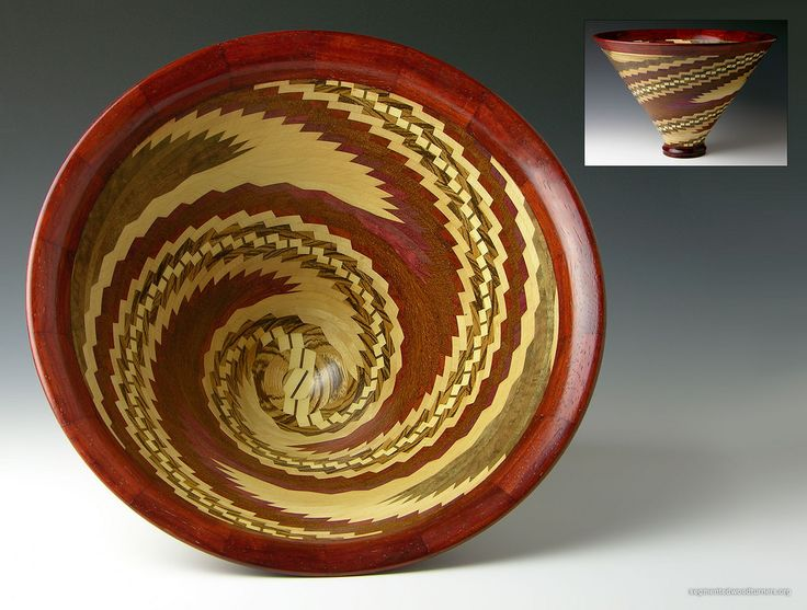 "appx 527 pieces, 8.5""h x 12.5""dia - bloodwood, holly, mnaple, padauk, purpleheart, walnut, zebrawood"