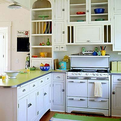 Captivating Lovely Rero Vintage/retro Kitchen With Green Formica Countertops