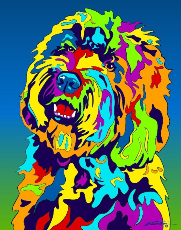 Multi-Color Labradoodle Dog Breed Matted Prints & Canvas Giclées