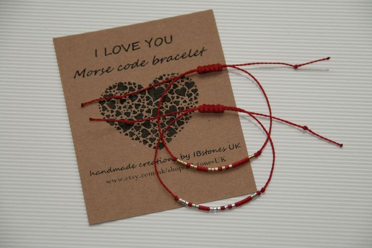 I LOVE YOU Morse code bracelet, Red String bracelet Cord Minimalist bracelet, Gift for girlfriend, boyfriend. For her, him. Gift