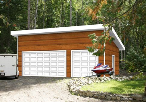 The Garage B garage package from Linwood Homes is a modern kit that will complement almost any home or vacation property. Its sloped roofline gives the design wonderful appeal. Linwood Homes offers over 400 home designs, including garages, that can be fully customized to suit your needs.
